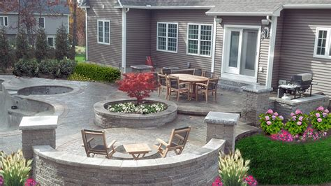 backyard stone patio nh landscape company stone tiered backyard patio