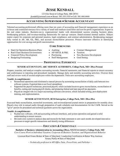 accounting supervisor resume sle accounting resume in sales accountant lewesmr