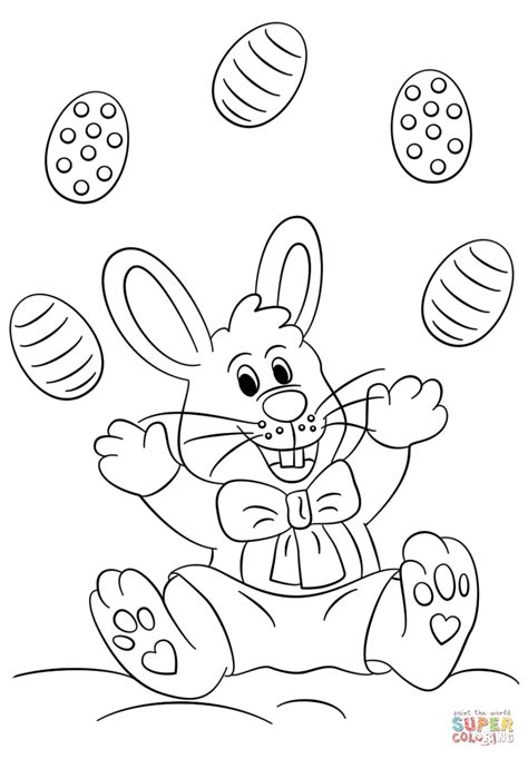 easter bunny juggling eggs coloring page  printable