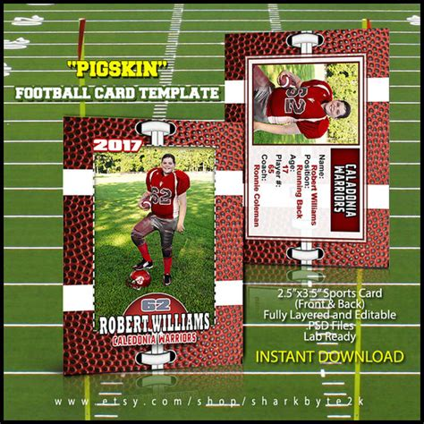 sports trading card template photoshop football card template great for sports team and