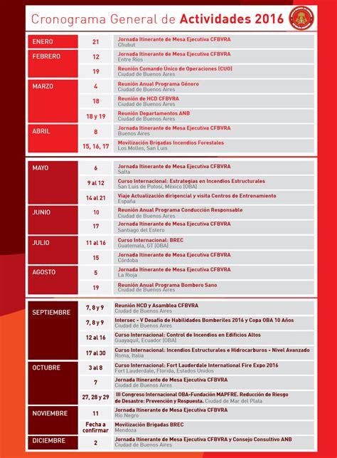 cronograma declaraciones de predios 2016 cronograma general de actividades 2016 bomberos