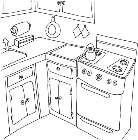 Kitchen And Cooking Coloring Pages Coloringpages1001 Com Cooking Coloring Page