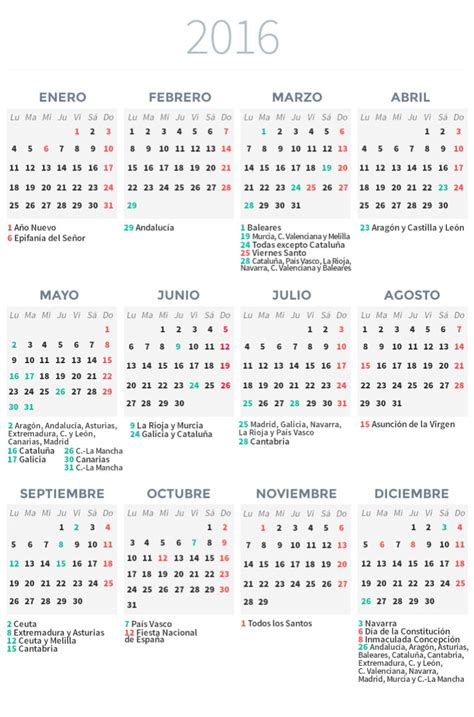 Calendario Laboral 2016 Calendario Laboral 2016 Econom 237 A Cadena Ser