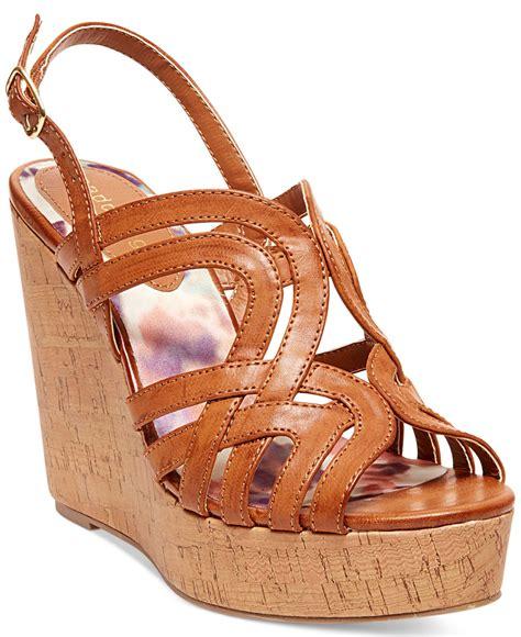 madden wedge sandals madden eliite cork platform wedge sandals in orange
