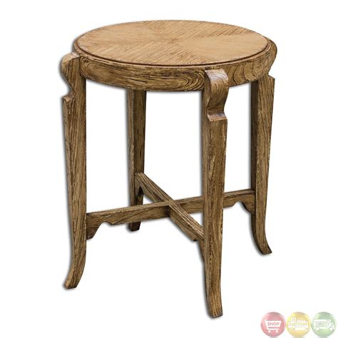 bandi country rustic aged wooden accent table 25627