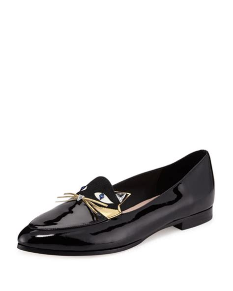cat loafers kate spade new york cecilia patent cat loafer flat black