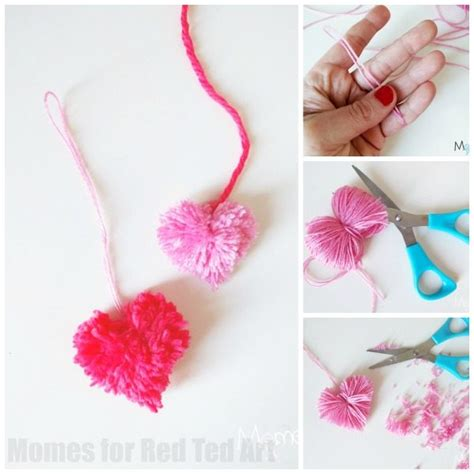 learn how to make pom poms and craft decorative items from them heart pom poms how to red ted art s blog