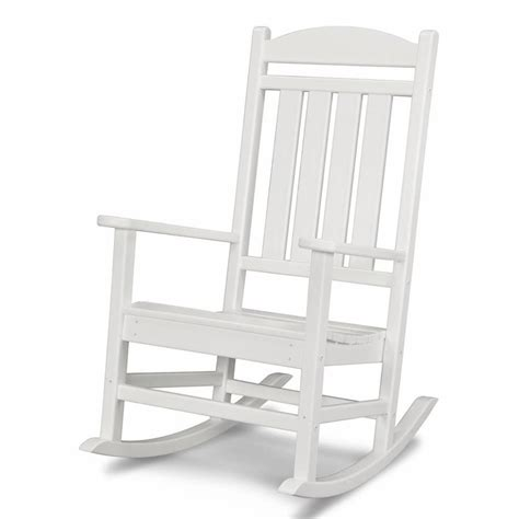 white outdoor rocking chair shop polywood presidential white plastic patio rocking