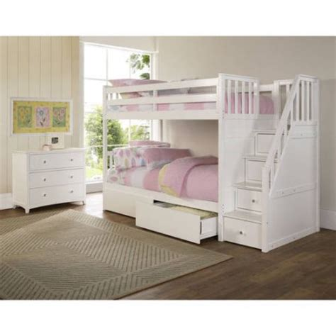 white bunk beds with storage barrett stair twin over twin wood bunk bed with storage