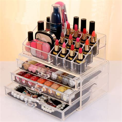 Acrylic Table Organiser clear acrylic 3 drawers cosmetic makeup display storage