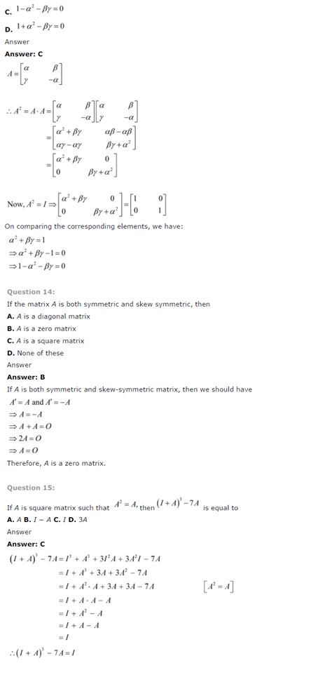 ncert solutions for class 12 maths chapter 3 matrices