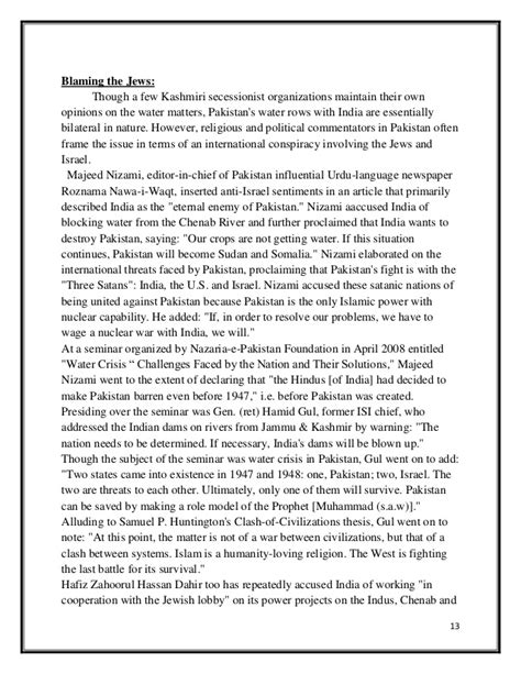 Kashmir Issue Essay With Outline by Water Dispute Between India And Pakistan