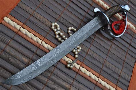 Handmade Custom Swords - custom handmade damascus knife leather handle