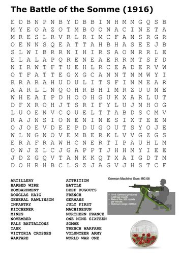The Battle Of The Somme Worksheet Answers by At Word Search World War One By Uk Teaching
