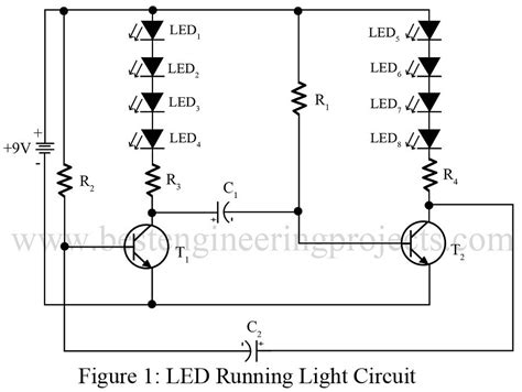 layout pcb running led led running light circuit best engineering projects