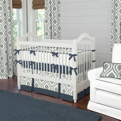 Contemporary Crib Bedding Gray And Navy Raindrops Crib Bedding Contemporary Atlanta By Carousel Designs