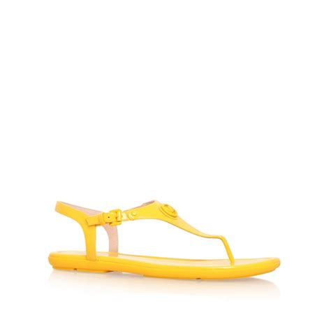 flat yellow sandals michael kors ramona flat sandals in yellow lyst