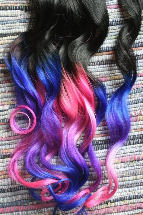 ombre hair extensions electric light purple pink and blue
