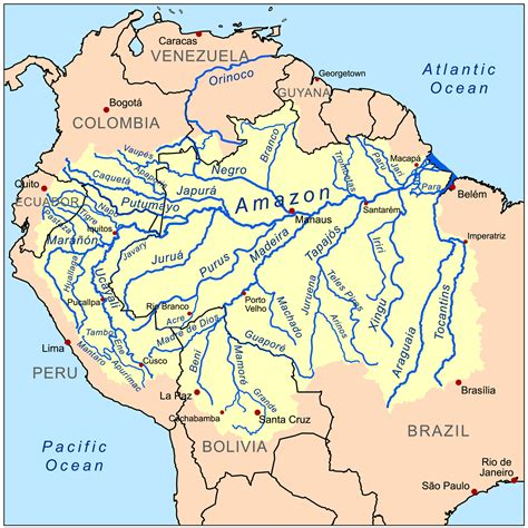 amazon map map of the amazon rainforest