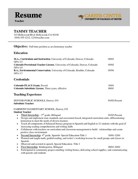 resume objective exles for teachers images with uniform perfect sles of teacher resume for job application vntask com