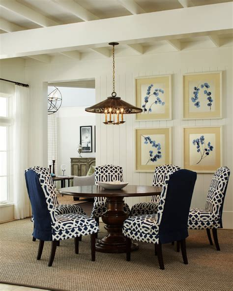 Parsons Chair Slipcovers Dining Room Traditional With Blue Blue And White Dining Chairs