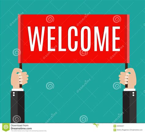 Welcome Style It Less by Businessman Holding Welcome Sign Stock Vector Image