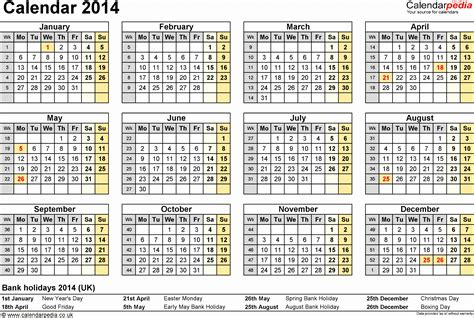 calendar 2014 template uk 7 monthly calendar excel template 2014 exceltemplates