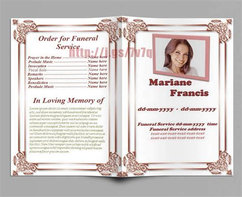 memorial program youth funeral program template baby obituary