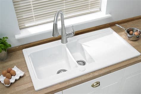 Ceramic Inset Sink by Ceramic One And A Half Inset Sink With Drainer Area