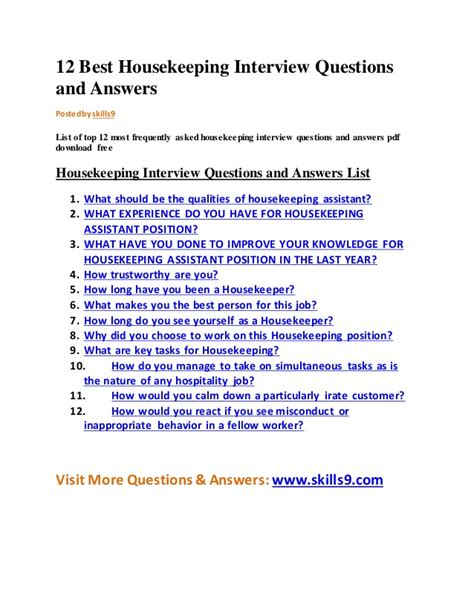 12 best housekeeping questions and answers