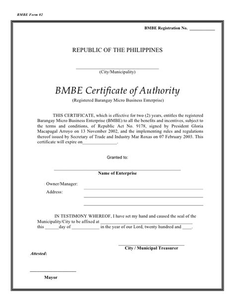 design certificate authority bmbe certificate of authority sle gallery certificate