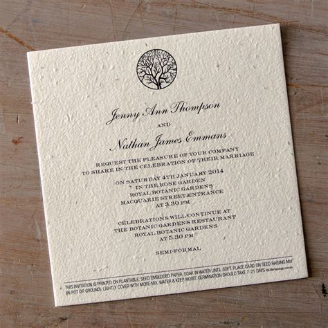 Wedding Invitation Paper by Enchanted Tree Plantable Wedding Invitations Seed Paper