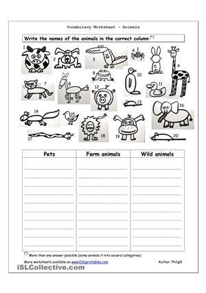 Mouse Spider X7 worksheet containing 20 pictures of animals pets farm
