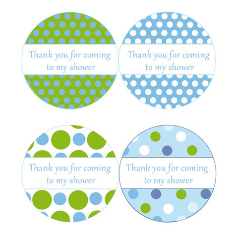 printable thank you tags for baby shower instant download blue green polka dots baby shower by