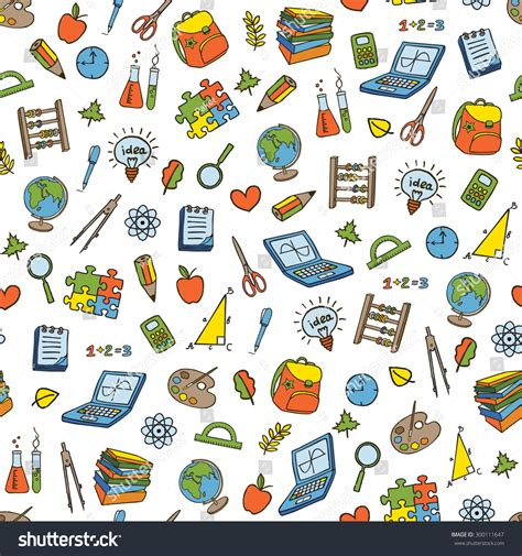 doodle bug website doodle seamless back school pattern education stock vector