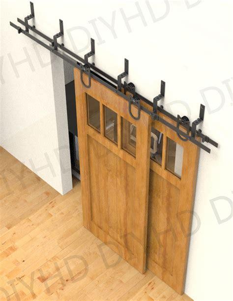 Bypass Sliding Closet Door Hardware 5 6 6 6 8ft Horseshoe Bypass Sliding Barn Wood Closet Door Rustic Black Barn Door Track Hardware