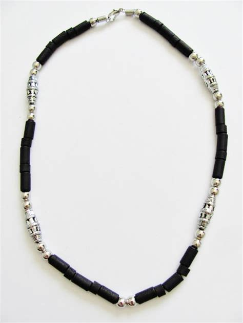 mens bead necklaces cancun chrome black s bead necklace