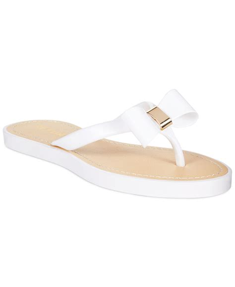 white bow sandals lyst report jenski flat bow sandals in white