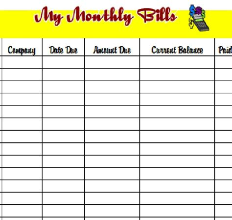 free printable bill organizer template