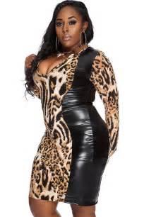 leopard print faux leather plus size dress