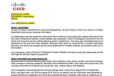 cisco cover letter applied for a at cisco your personal data and
