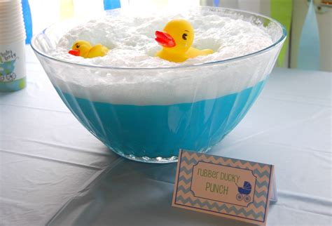 bathtub punch rubber ducky baby shower party favors ideas