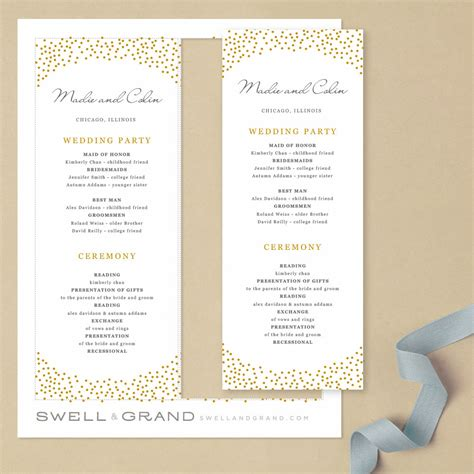 program template for apple pages printable wedding program template instant download