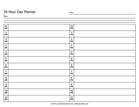 printable day planner by hour 24 hour daily planner calendar template 2016
