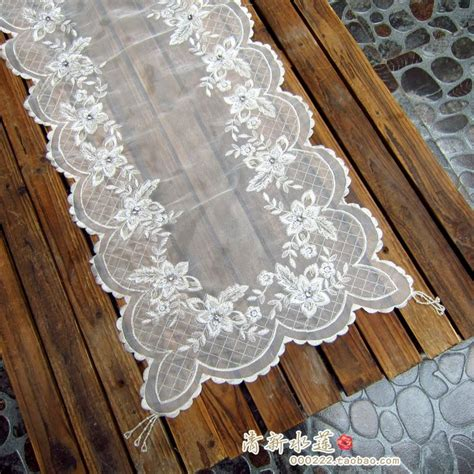 white fashion handmade embroidery table cloth table