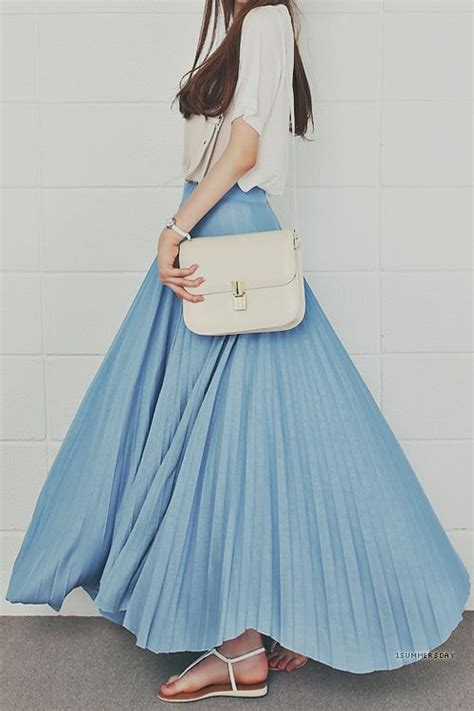 blue maxi skirts summer and white sandals on