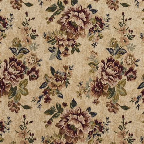 floral chenille upholstery fabric vintage beige and burgundy floral chenille upholstery fabric