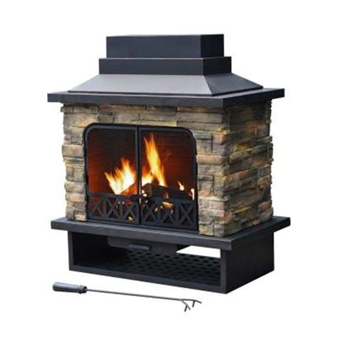 Outdoor Metal Fireplaces - sunjoy huntsville 42 in x 24 in steel faux stone outdoor fireplace l of079pst 1 the home depot