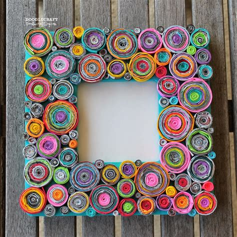 picture frame craft doodlecraft upcycled rolled paper frame