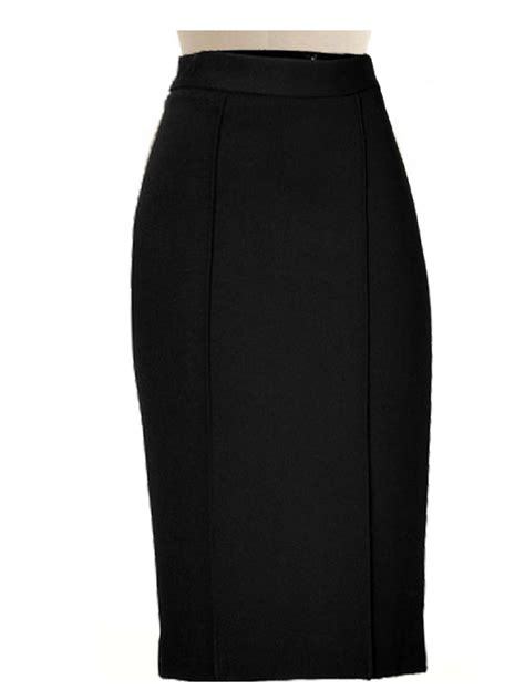 wool blend black pencil skirt fully lined custom